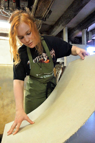 Zoe Collis, apprentice papermaker at Two Rivers Paper (photo by Alison Jane Hoare)