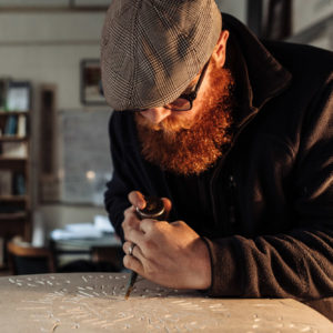 Steve Roche, stonemason and lettercutter (photo by Mark Shenton)