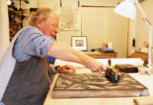 Rod Nelson Woodblock Printmaker in his studio