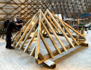 Gary Campbell at Weald and Downland Museum – SHT oak timber framing bursary recipient