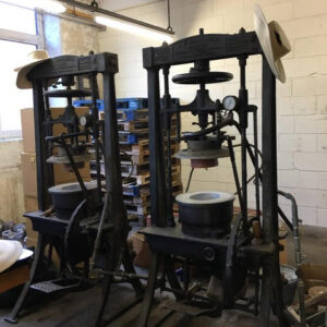 • Brochier blocking machines. The one on the left is going to Luton Museum. Photo by Veronica Main.