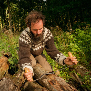 Peter Ananin, oak bark tanner. Photo copyright Woodland Tannery.